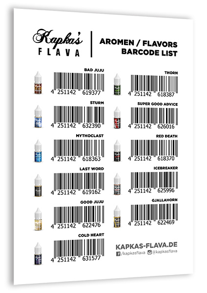 kapkas flava aromen flavors barcode list for download